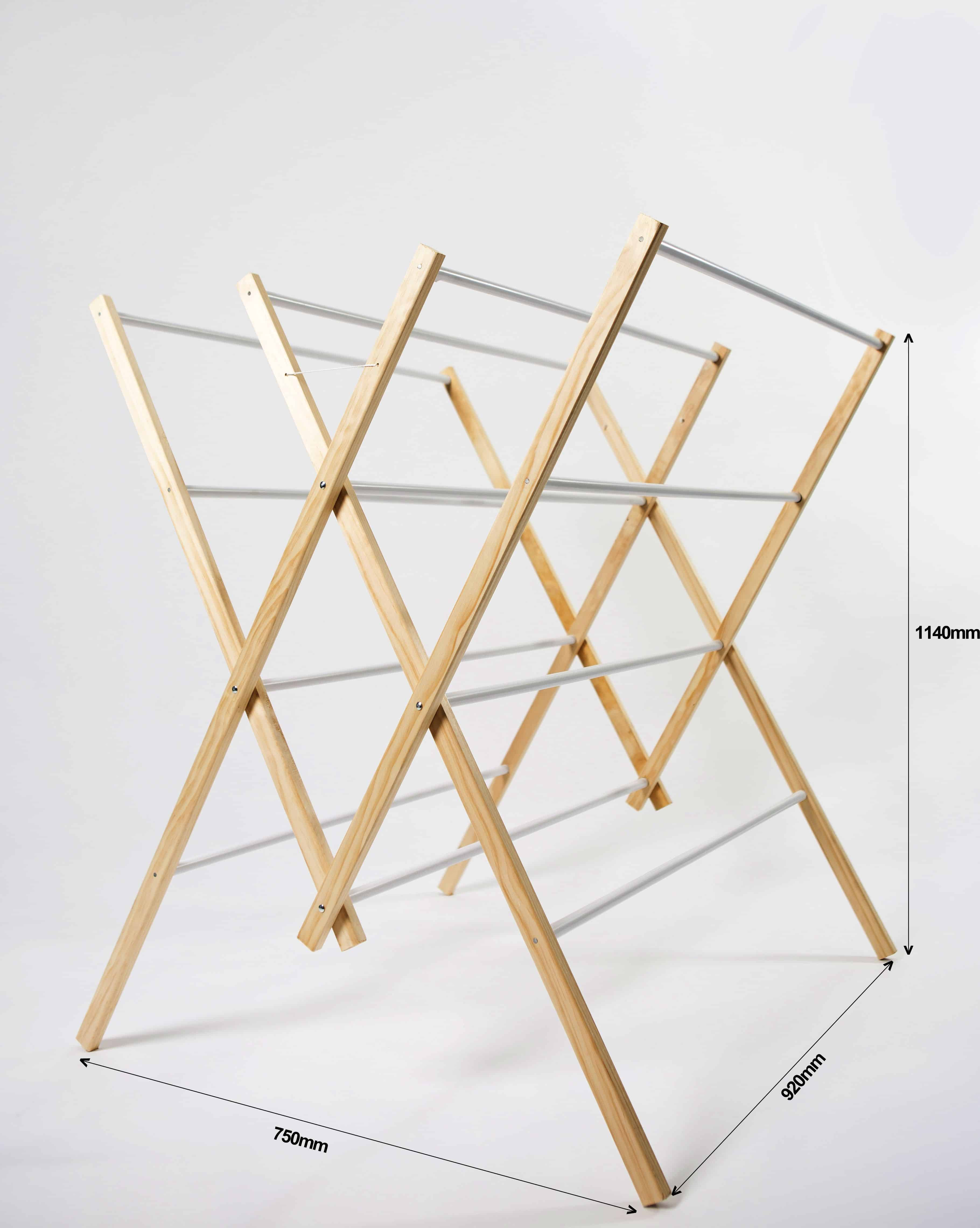12 Rail Wooden Clothes Airer Clothes Line Rack Horse Foldable Australian Made Hendra Hardware