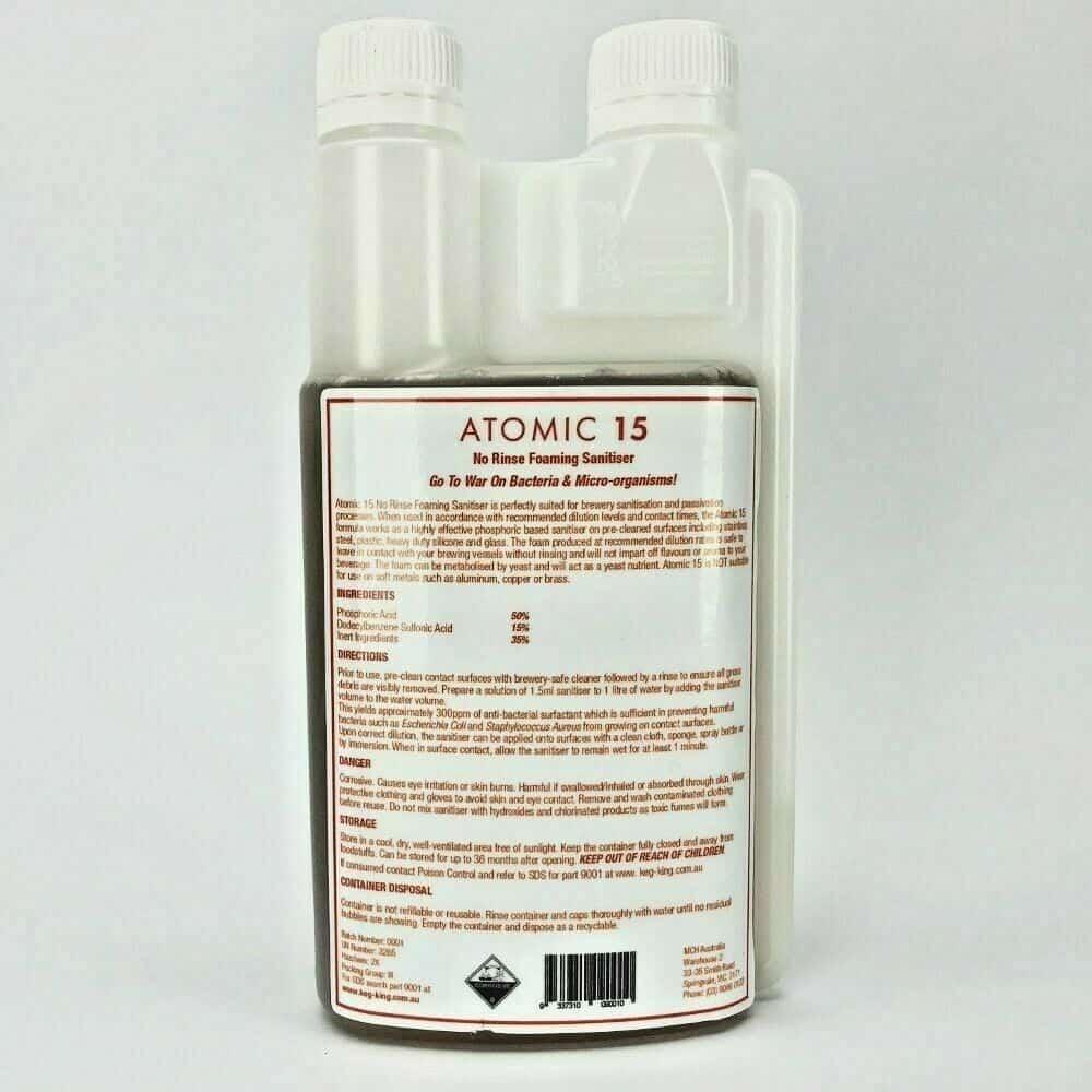 BREWERY CLEANER Atomic 15 PHOSPHORIC SANITISER Phosphoric Acid Blend 250ml