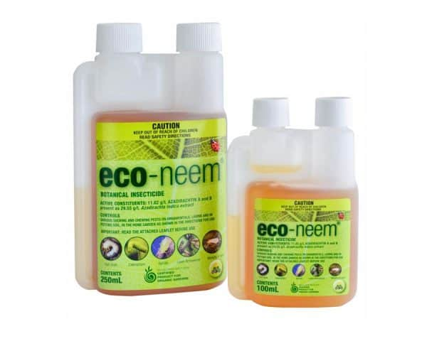 A bottle of organic insecticide eco neem oil